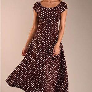 Dresses & Skirts - NWOT dress.  Brown and polka dots.  Elegant..